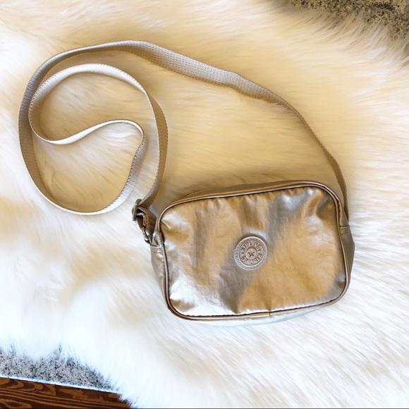 Kipling Handbags - Kipling Gold Metallic Crossbody Nylon Bag Purse